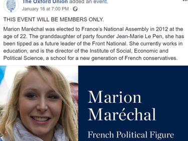 Dopo Grillo all'Oxford Union approda Marion Le Pen foto 2