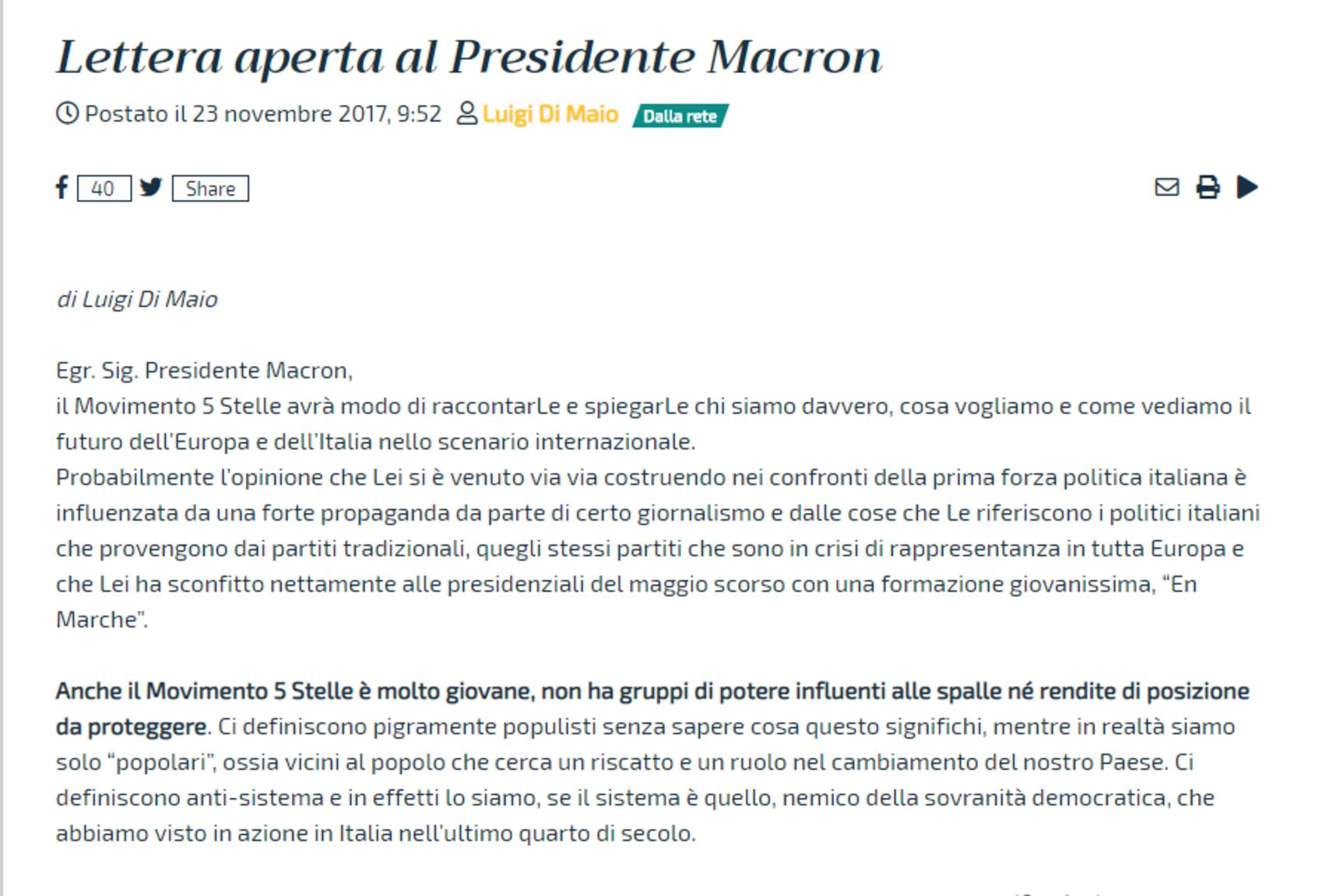 La lettera di Di Maio a Macron del novembre 2017 foto 1