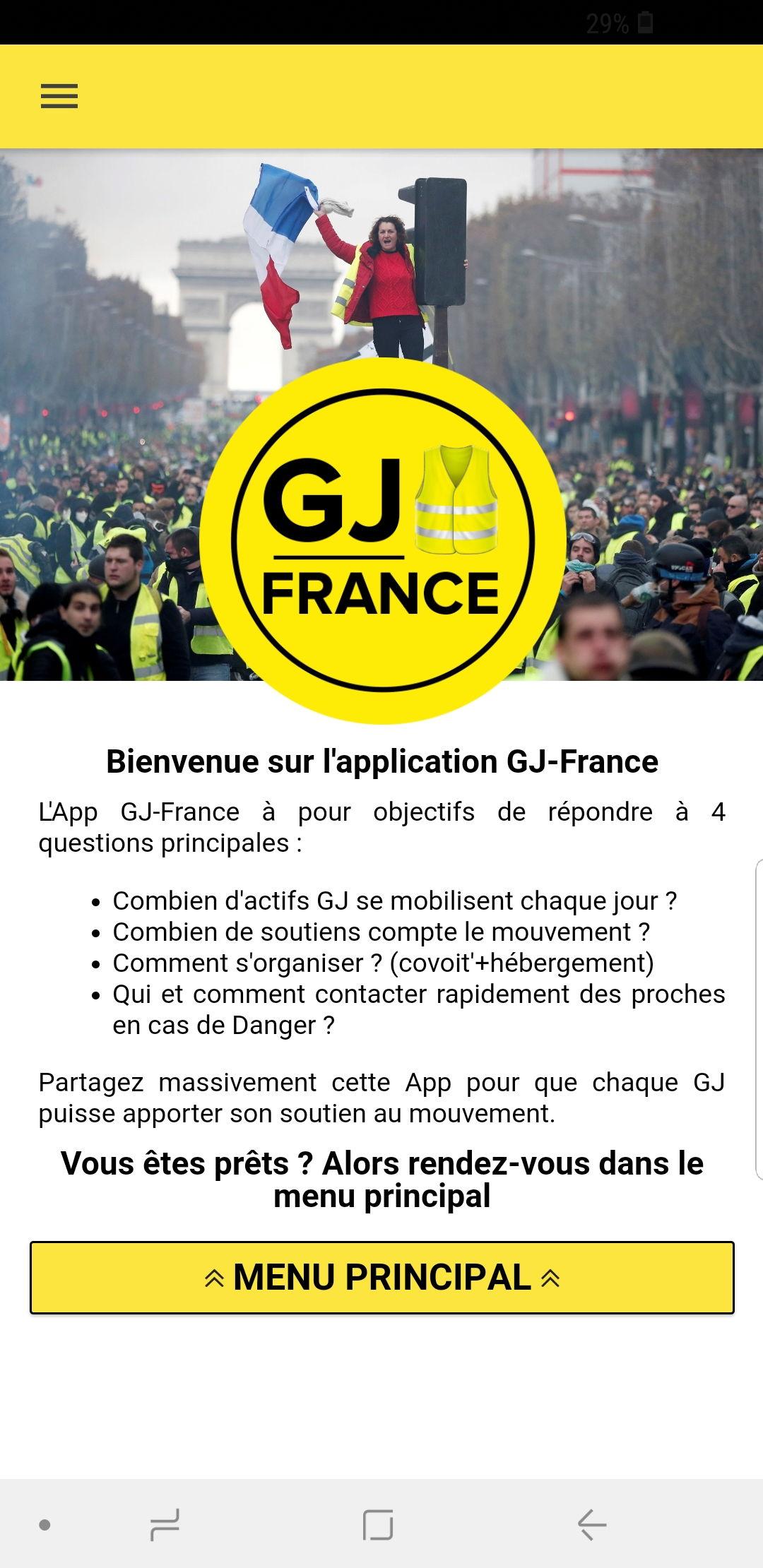 Nasce «GJ-France»: l'applicazione per smartphone dei Gilet gialli foto 1