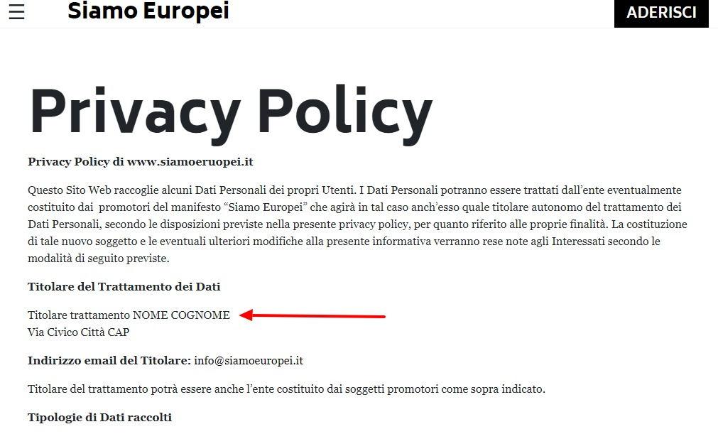 Il sito europeista di Carlo Calenda ha un piccolo problema di privacy foto 3