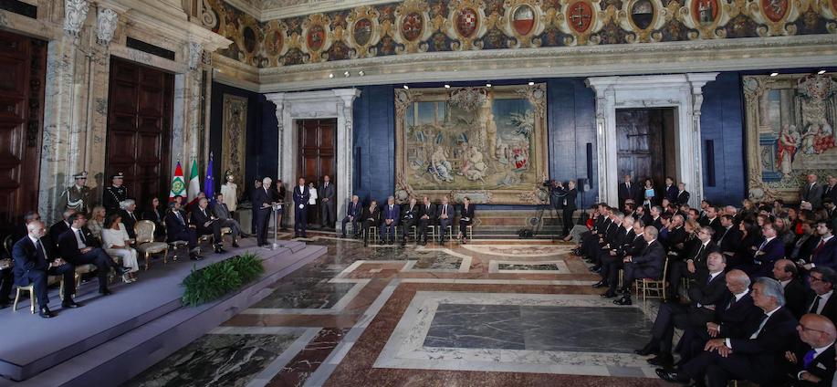 Un momento della cerimonia di commiato dei componenti uscenti del Consiglio Superiore della Magistratura, Roma, 25 settembre 2018. Ansa/Giuseppe Lami