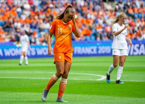 Lieke Martens, attaccante, durante la partita tra la Nuova Zelanda e l'Olanda a Le Havre, Francia, 11 giugno 2019. EPA/Peter Powell