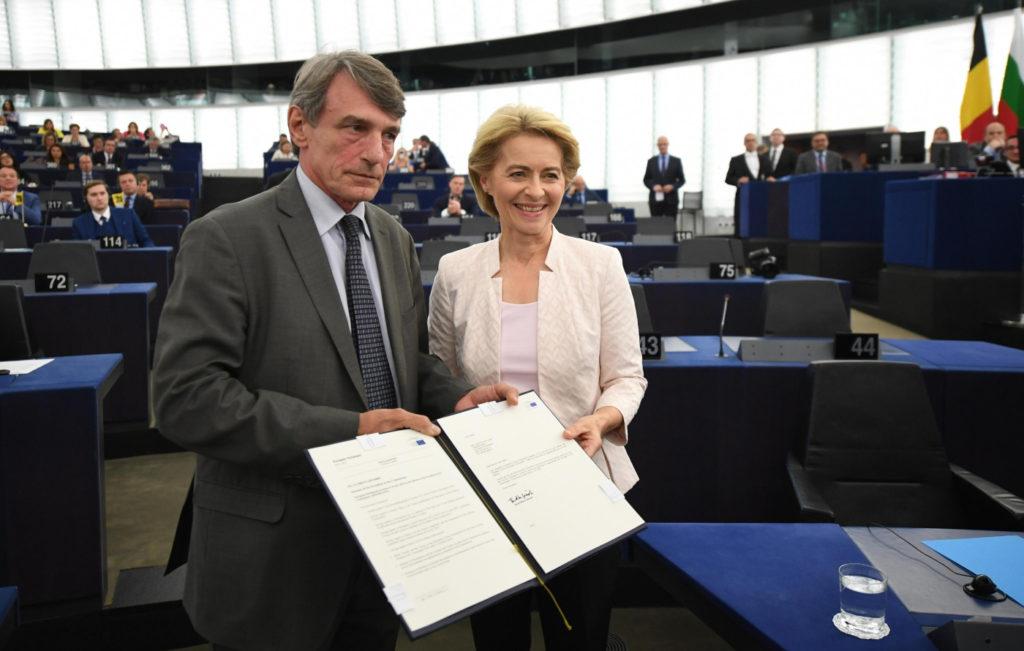 Il presidente del Parlamento europeo David Sassoli con Ursula von der Leyen
