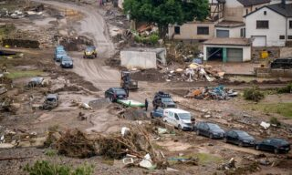 A general view shows the district Kreuzberg of Altenahr, western Germany, on July 17, 2021 after heavy rain hit parts of the country, causing widespread flooding and major damage. - Rescue workers scrambled on July 17 to find survivors and victims of the devastation wreaked by the worst floods to hit western Europe in living memory, which have already left more than 150 people dead and dozens more missing. (Photo by Torsten SILZ / AFP)