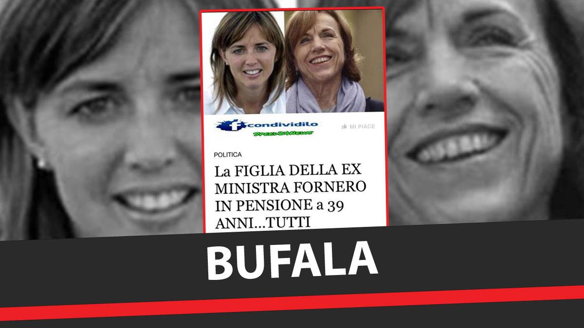 Bufala! La figlia dell'ex ministra Elsa Fornero non è andata in pensione a 39 anni