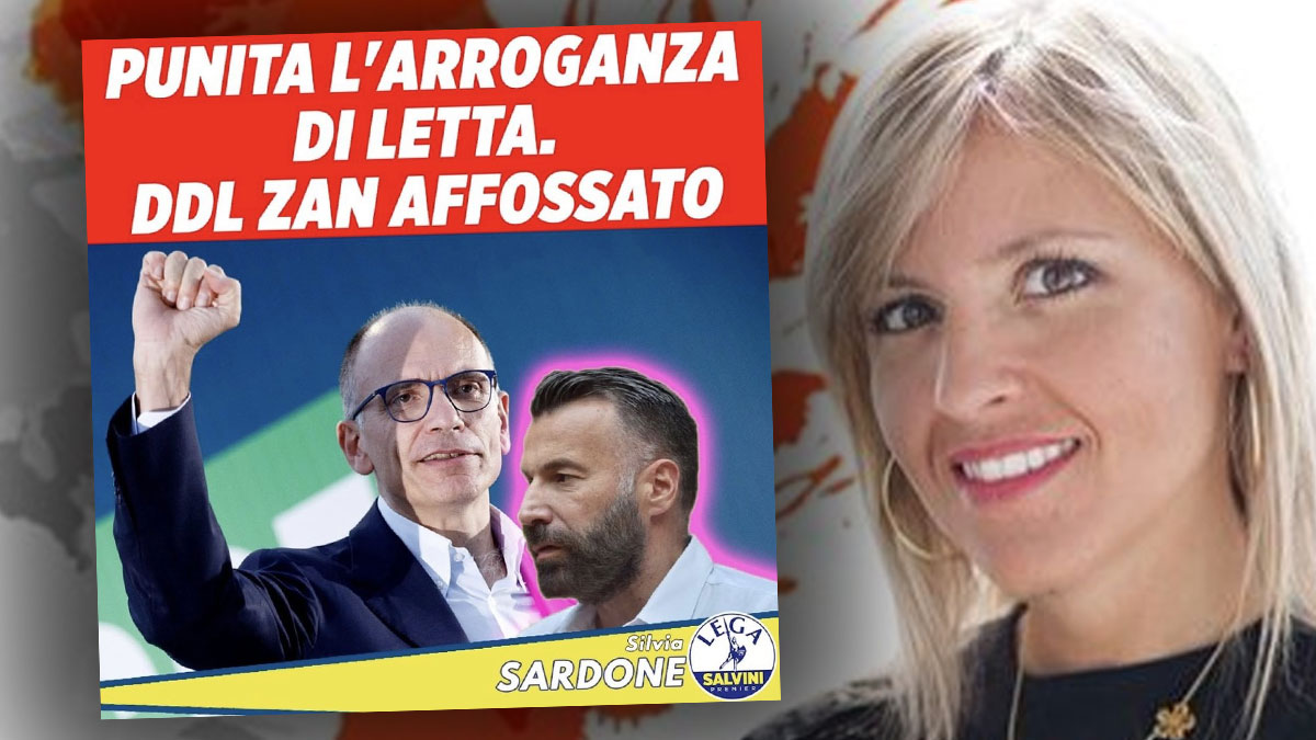 Il tweet di Silvia Sardone e l'alone rosa attorno a Zan che ricorda lo spot dell'Aids. Poi si vergogna e cancella tutto